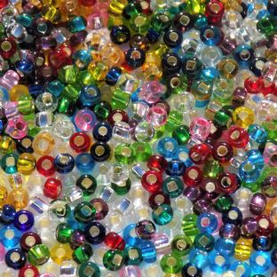 Size 8 Preciosa Czech Glass Seed Beads. Mixed Colours with Silver Lining x 10g